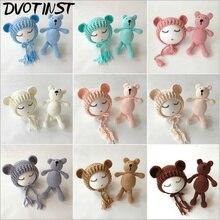 Baby Photography Props Hat+Bear Doll Crochet Knitted Newborn Fotografia Accessories Infantil Studio Shoot Photo Shower Gift