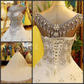Custom Made Luxury Lace Wedding Dress Scoop Lace-up Heavy Beads Crystals Long Train Bridal Dresses Vestido De Noiva IZ182