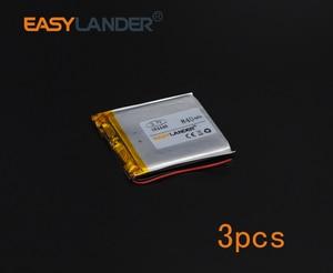 3pcs 3.7V 840mAh Polymer Li-ion Battery For Mp3 Mp4 PAD DVD DIY E-book bluetooth Vedio GPS Tablet PC Power bank mobile 384448