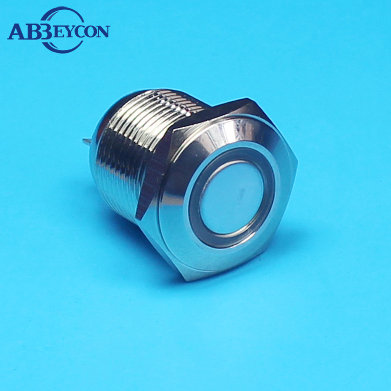 TY 1662 shortest design latching metal push button switch with LED light flat round head blue