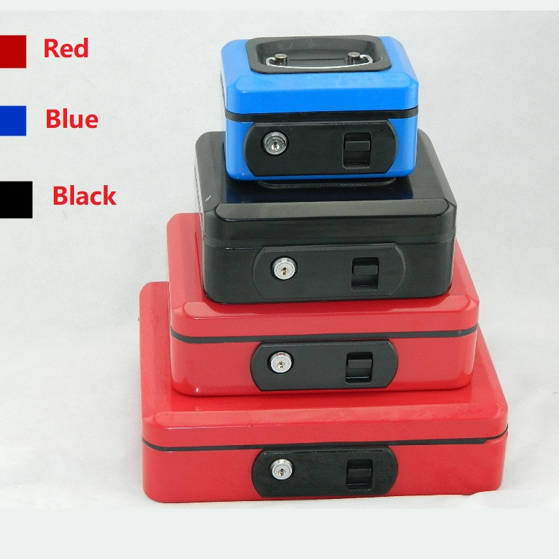 Red 15cm*11cm*9cm Key Open Style Metal Safes Elastic Button Jewelry Savings Mini-safe Storage Receiving Box