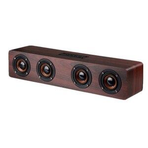 Image 2 - Dual horn Wooden Subwoofer Bass dj speaker With Bass Music Sound Intelligent Calls Handsfree TF Card Aux Mode