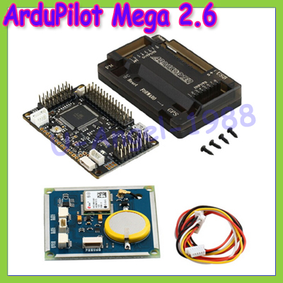 Free Shipping APM 2.6 ArduPilot Mega 2.6 Multicopter UAV Flight Control Board +GPS Module + protect Case apm 2 6 flight controller board ardupilot mega 2 6 version with side pin connector for multicopter