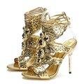 Mulheres Sandálias de Salto Alto Moda Senhora Gladiador Sandálias de Verão de Couro Macio Do Dedo Do Pé Aberto Sapatos Femininos Tamanho 34-39