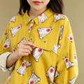 2016 Inverno Urso Dos Desenhos Animados Impressão Camisa de Manga Longa Mulheres Amarelo Solto Bolso de Abertura de cama de Algodão Mulheres Blusas Blusas Femininas