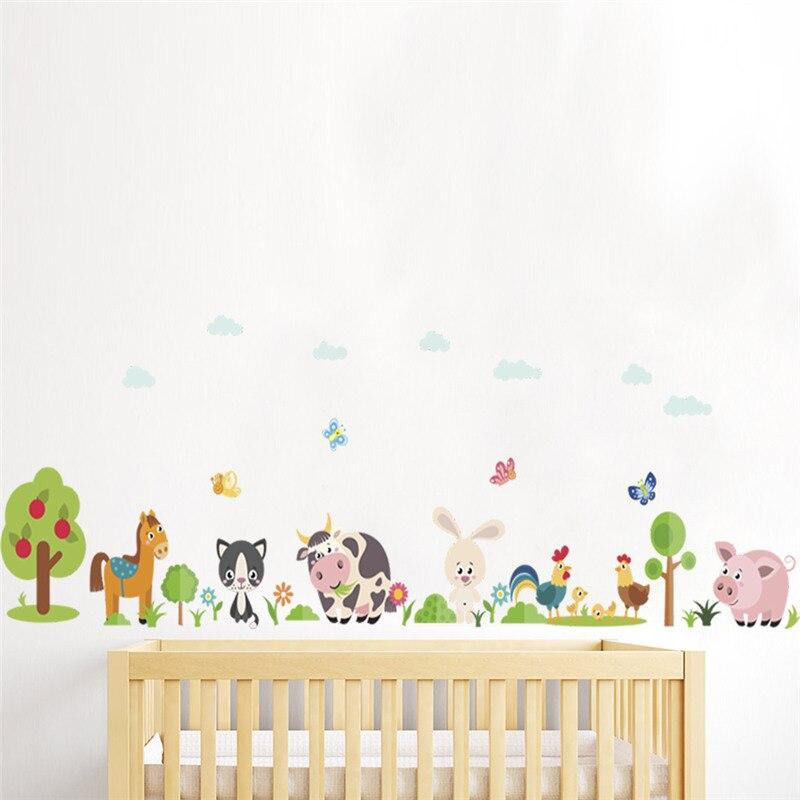 Kids Room Wall Decals Farm Wall Decals Farm Animal Decals: Lovely Animals Farm Wall Stickers Home Decoration Kids