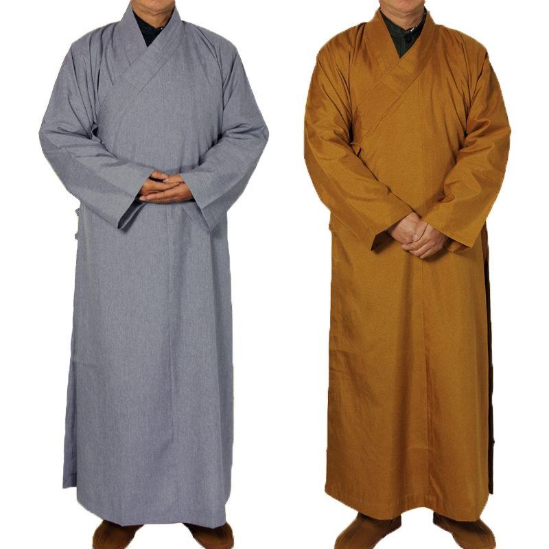 2 colors Shaolin Temple costume Zen Buddhist Robe Lay Monk Meditation Gown Buddhism Monk clothes set Training Uniform Suit gown