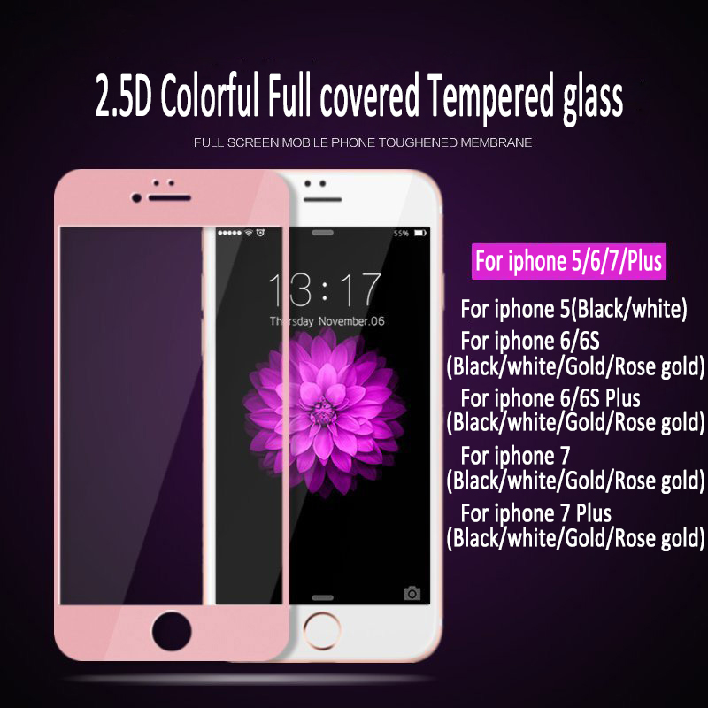 50pcs 2 5D For iphone 7 6 6S 5 5S SE Full covered silk print Tempered