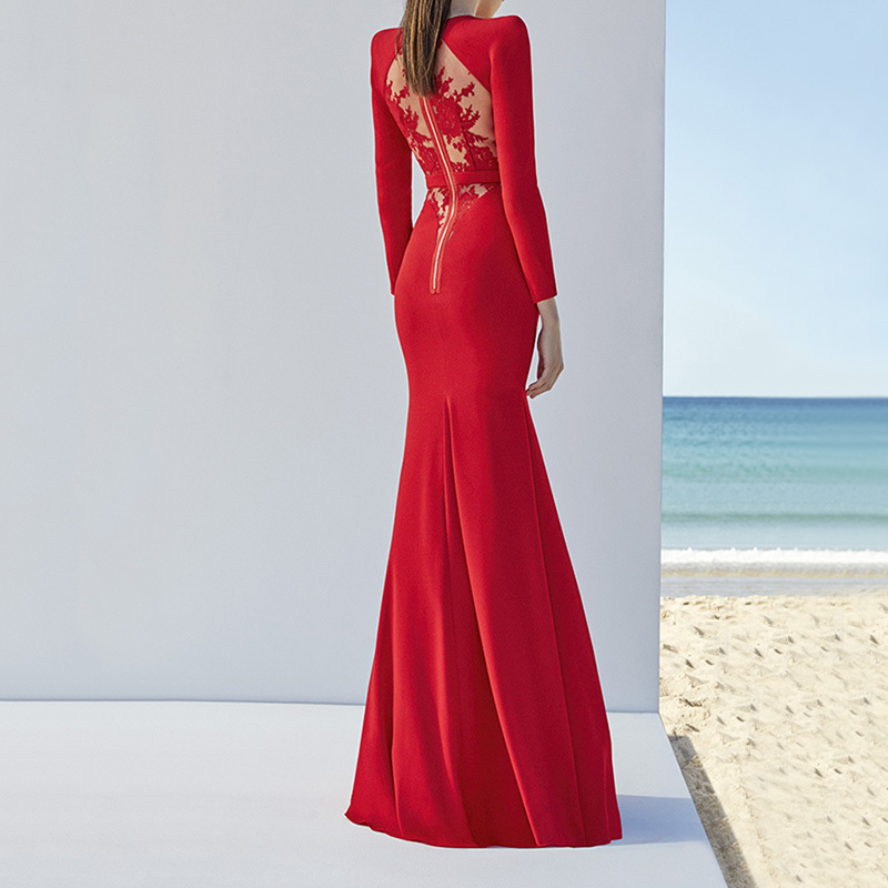 wholesale 2018 New Dress Red and white Long sleeves Elasticity tight Fashion casual Cocktail party bandage long dress (L2205)