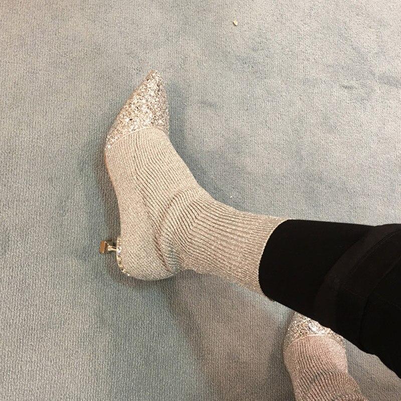 HZXINLIVE Luxury Rhinestone Kitten Heel Women Sock Boots Wool Knitting Ankle Booties 2018 Crystal Ankle Boots