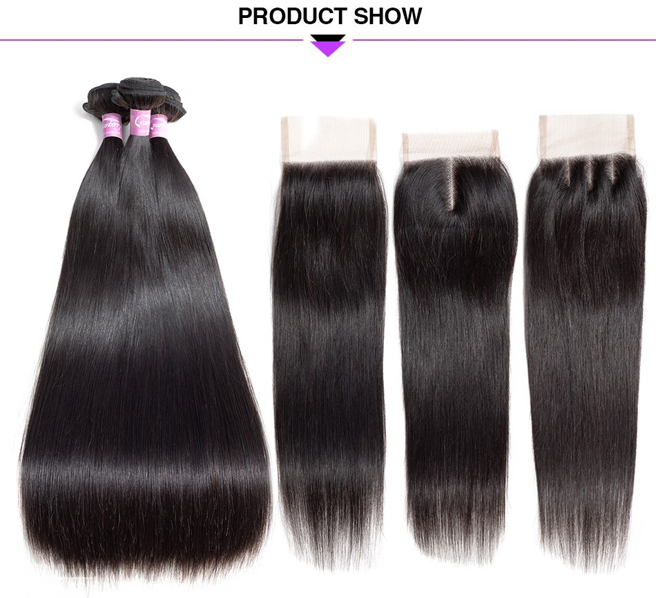 straight hair bundles with one pc lace closure straight human hair  (1)
