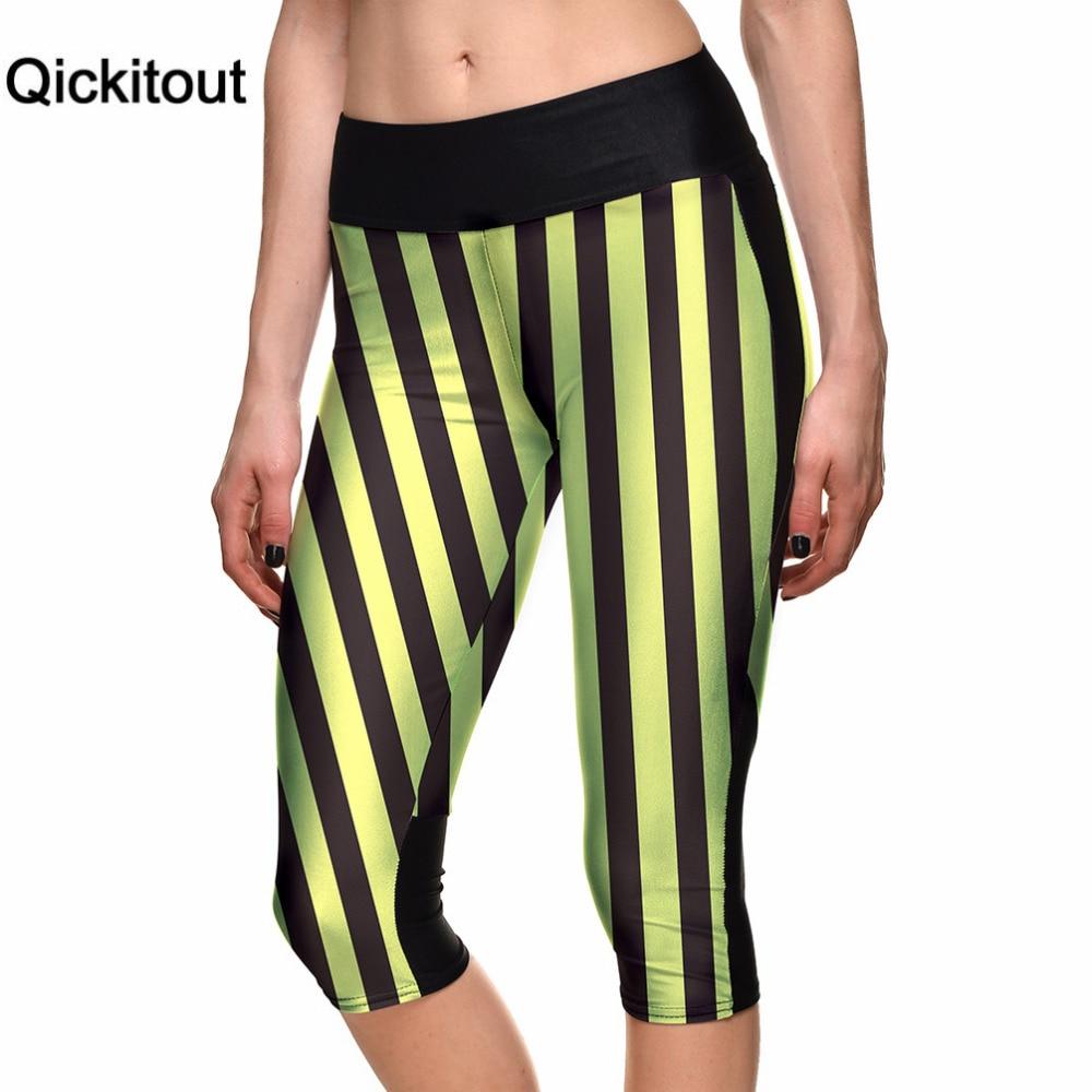 Qickitout Capri Pants 2016 New Women's 7 Point Pants Yellow black Stripes Digital Print Women High Waist Side Pocket Phone Pants