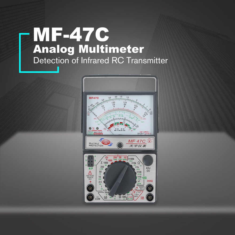 MF-47C Analog Multimeter DC/AC Voltage Current Meter Infrared Detection Handheld hFE Tester Multitester Buzzer Battery Test