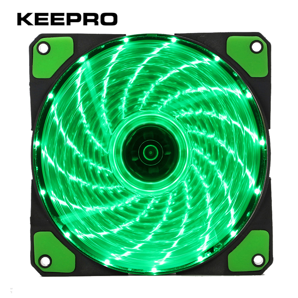 KEEPRO Original 15 Lights 4 Color LED PC Computer Case Heatsink Cooler Cooling Fan DC 12V 4P 3P 120mm  Red Green White Blue for asus u46e heatsink cooling fan cooler