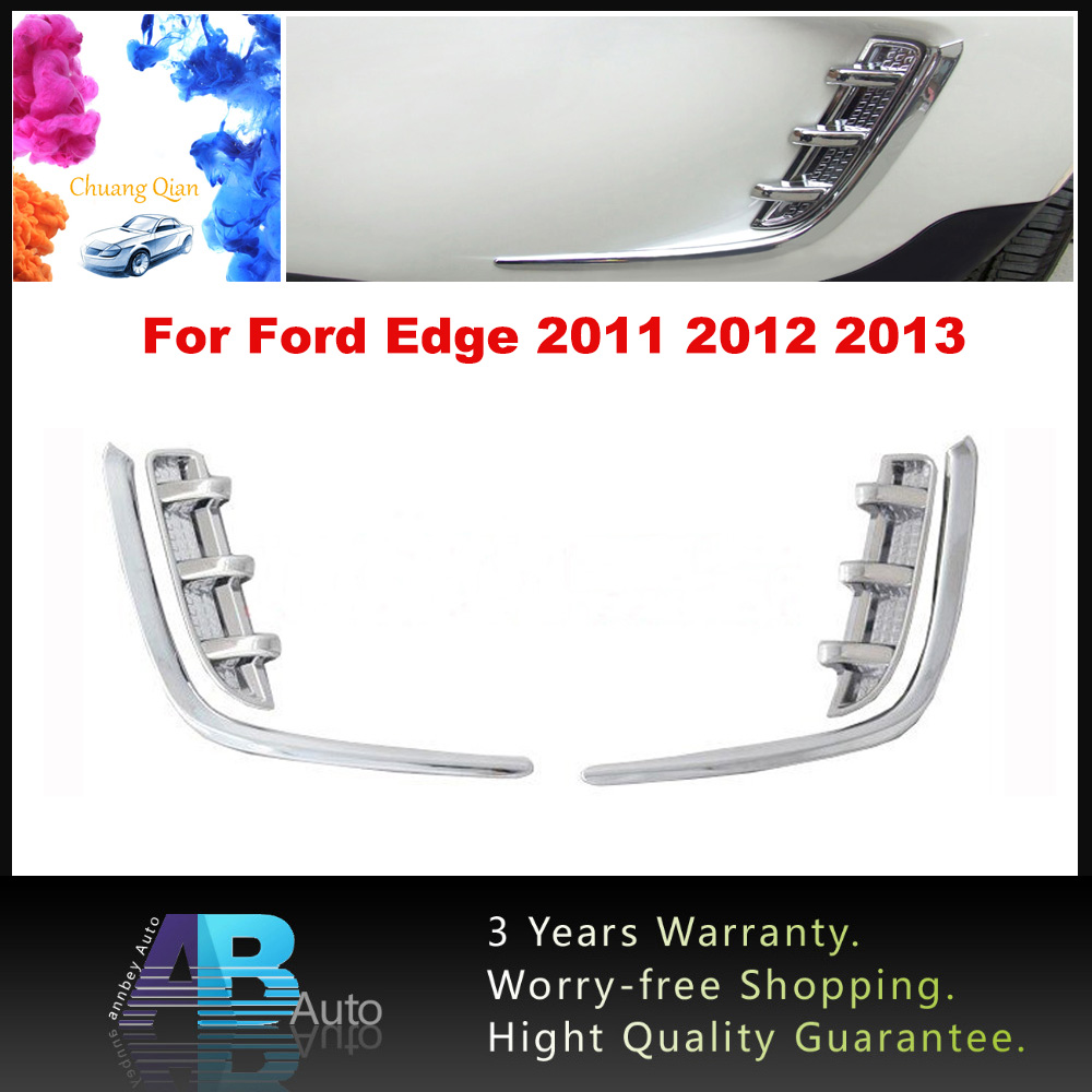 Chuang Qian 4pcs ABS Chrome Front Fog light Lamp Cover Trim For Ford Edge 2011 2012 2013 Car Lamp Covers Protector ...