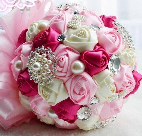 Новое Прибытие груза, оптовая 2014 высокое качество ручной работы свадебный букет перл брошь розовый свадебный букет вариантов цвета