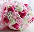 New Arrival shipping ,wholesale 2014 high quality handmade bridal bouquet pearl brooch pink wedding bouquet color options