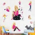 1pcs 45*60cm Multicolor Barbie princess PVC No residual sticker 90g Barbi girl sticker Tyrannosaurus