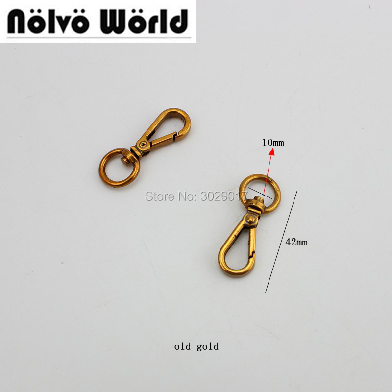 50pcs  10mm Top Ending Gold Silver Tone Trigger Snap Hook Clasp Metal Clip Swivel Dog Leash Hardware Old Gold