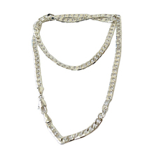 Women's Men's Fashion Jewelry Silver Plated 4MM Sideways Flat Chain Necklace