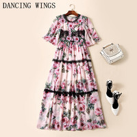 runway dresses 2018 women high quality rose print chiffon long dress patchwork lace elegant prom party dresses Vestidos