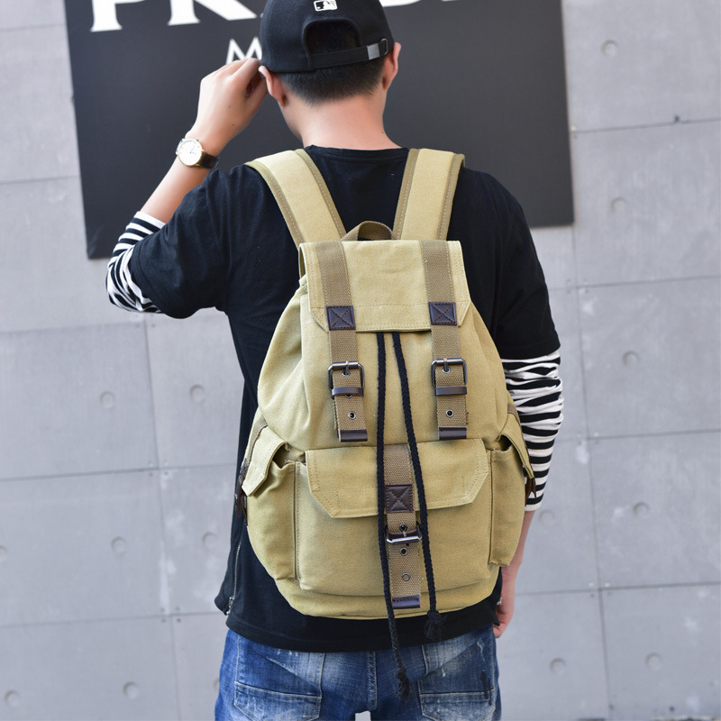 Top Canvas Backpack Men Drawstring Webbing Snap Travel Luggage Army Bags Military Rucksack Hiking Climbing Bags Mochila XA452WD 6