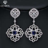 CC Earrings For Women Crystal Vintage Long Earring Ethnic Style Hollow Design Wedding Accessories Bride Engagement