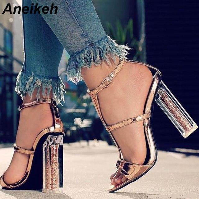 Sandalias de tacón alto transparentes Aneikeh 2018 nuevas mujeres de verano Sexy fiesta boda cremallera zapatos de tacón grueso sandalias de oro