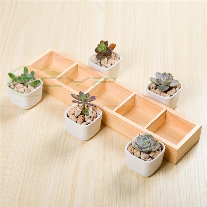 Viande créative en céramique blanche Simple avec fond en bois massif Zakka cinq pots original exclusif du réseau complet