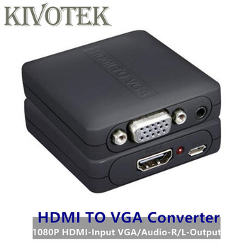 HDMI to VGA+R/L Audio Adapter Converter Downscaler 1080p hdmi To VGA Female Connector USB Power for HDTV PC Laptop Free Shipping image