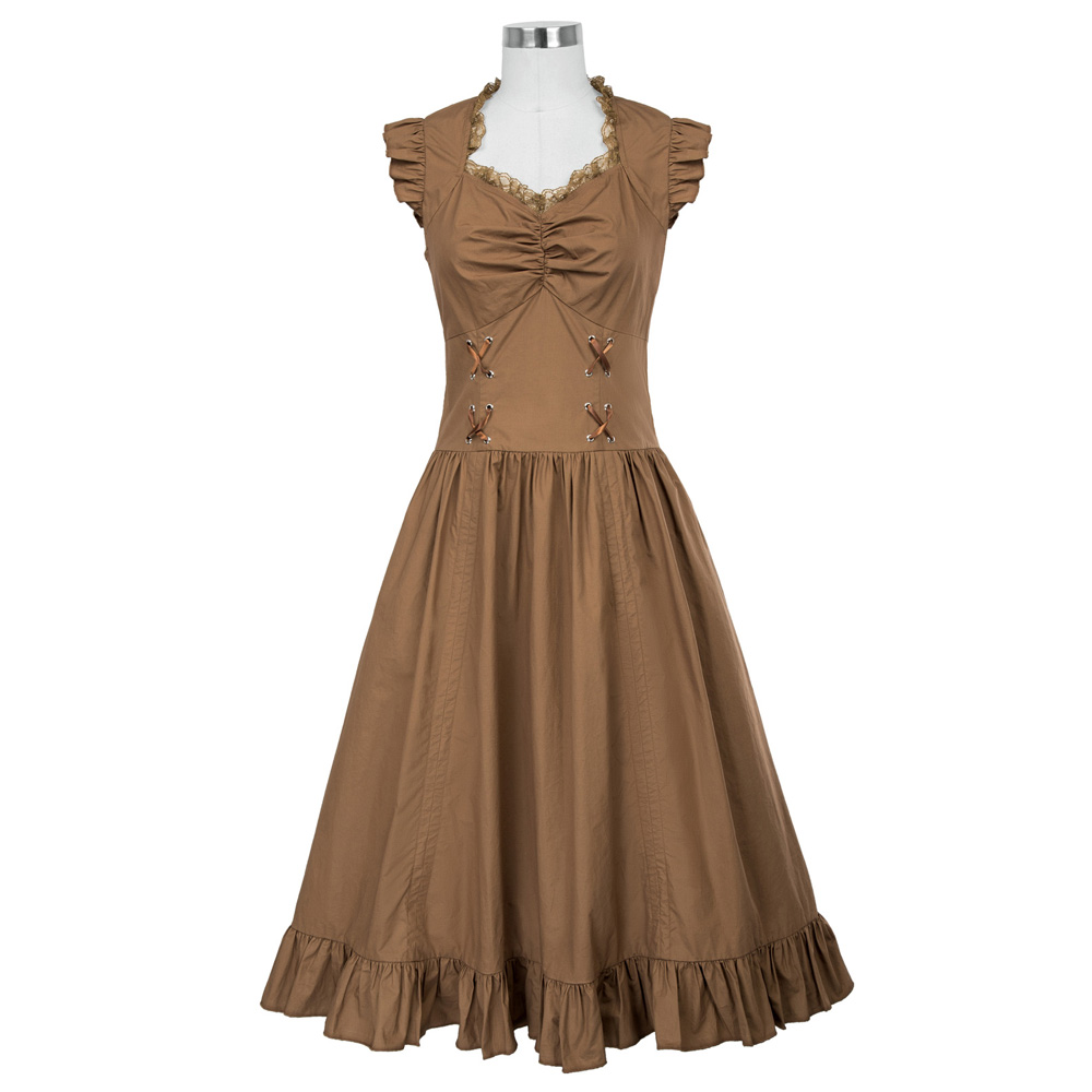 Belle Poque Women Sleeveless V-Neck Lace-up Corset Ruffle Dress 2018 Retro Vintage Steampunk Black Punk Gothic Victorian Dress 16