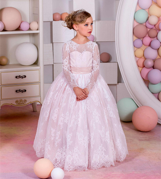 New Customized Flower Girl Dresses for Wedding Ball Gown Lace Long Sleeve Kids size 4 6 8 10 12 14 White Ivory 4pcs new for ball uff bes m18mg noc80b s04g