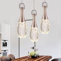 Modern led bubble Champagne Gold crystal pendant light warm romance bedroom dining room Perfume bottle hang lamp 110 240V