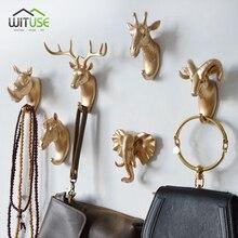 Ganchos decorativos de pared dorada, 6 tipos de perchas antiguas de diseño de animales para ropa, bolsos, organizador de cocina, baño, decoración