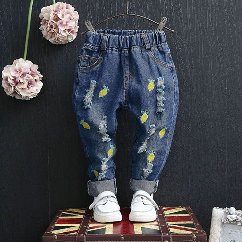 Kids Clothing 2017 Spring Autumn New Girls Boys Ripped Jeans Fruit Embroidered Small Straight Denim Pants