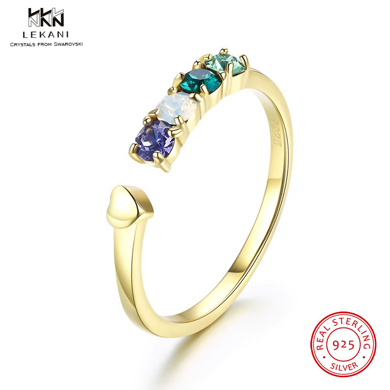 Lekani Crystals From Swarovski Rings 925 Gold-Plated Multi-Shade Crystal Small Recent Ring Ladies's Adjustable Reward Ring Boutique