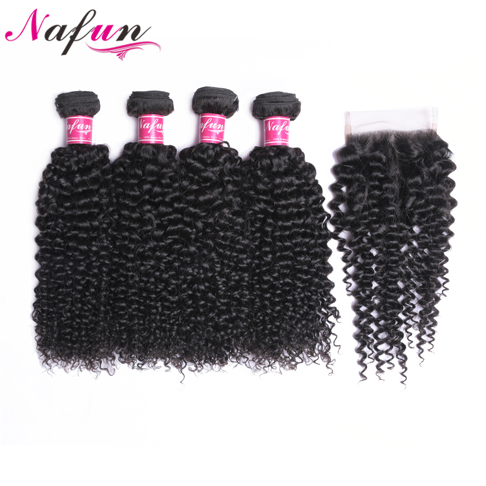 NAFUN Hair 4 Bundles Peruvian Kinky Curly Human Hair With Closure 4*4 Free/Middle/Three Part Non Remy Hair Weaves Natural Color