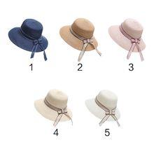 b8d3b5993e0 Womens Summer Fisherman Straw Bucket Hat Long Ribbon Bowknot Wide Brim  Visor Sun Hat Round Top