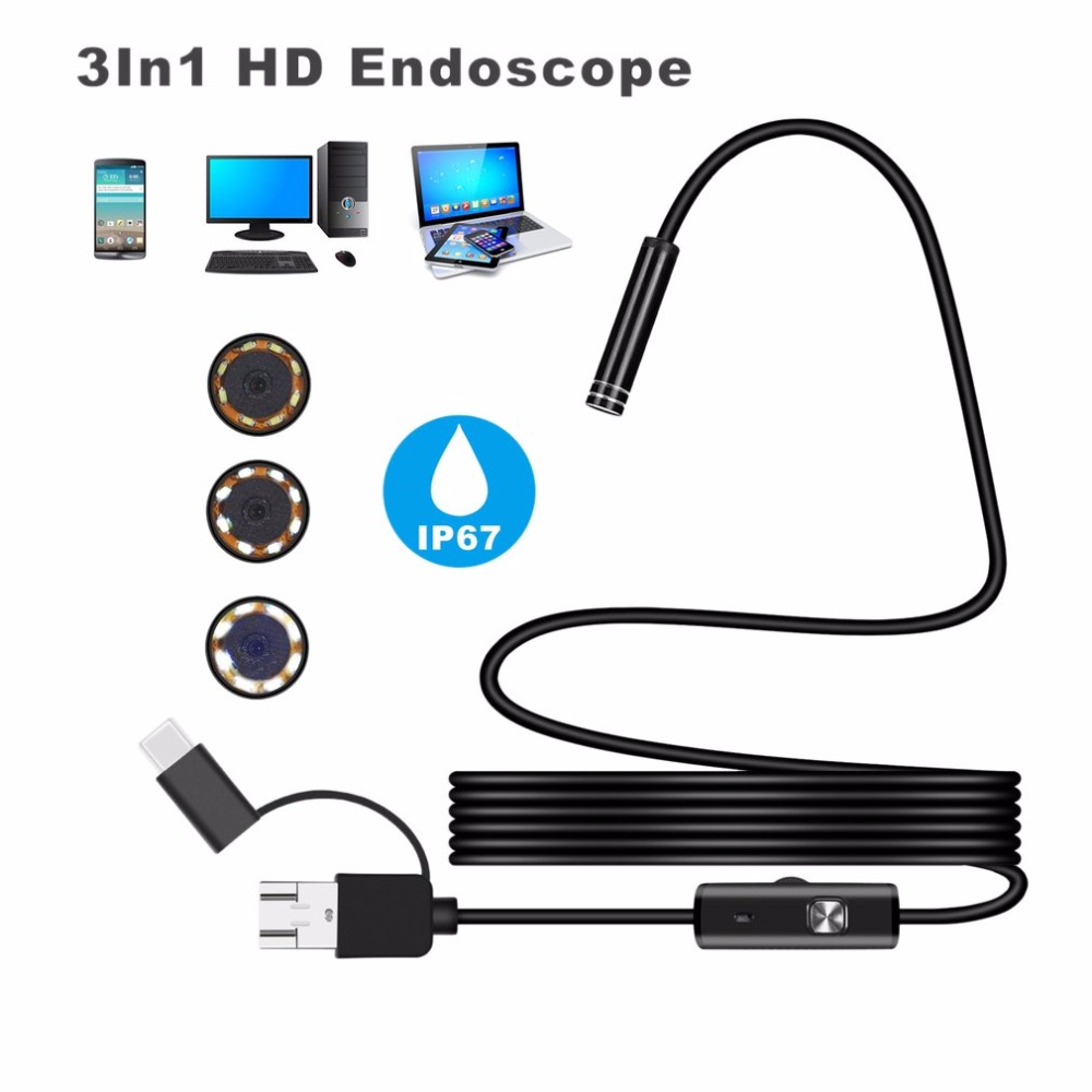 Mini Endoscope camera Android 5.5MM Micro USB Type-c USB 3-in-1 Computer Borescope Tube Waterproof USB Inspection Video Camera wifi 4 9mm lens ear nose medical usb endoscope borescope inspection otoscope camera for ios android pc