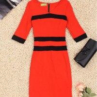 England style red black color block decoration knitted V neck half sleeve slim dress