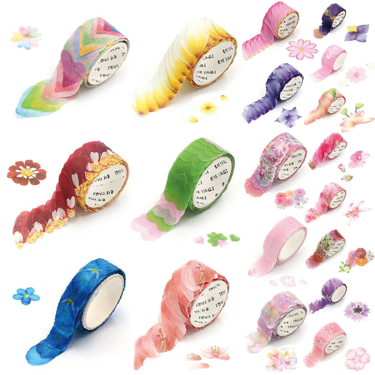 200PCS/Roll Masking Petals Tape Washi Tape Scrapbook Sticker Sticky Paper Flower