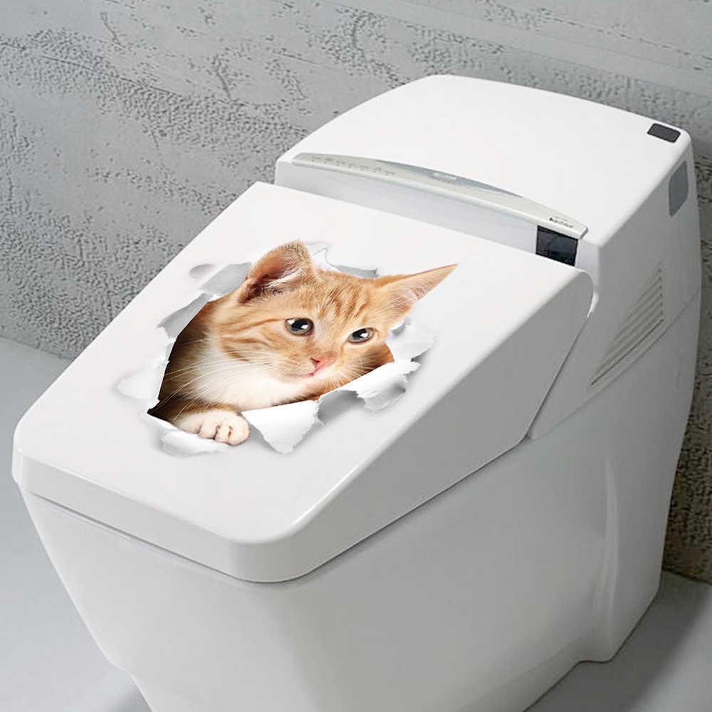 3D Наклейка на стену для кошек и собак, ванная комната, туалет, мультфильм животных, 3d наклейка для туалета, милые кошки, ПВХ, настенные наклейки Детские Декор для комнаты