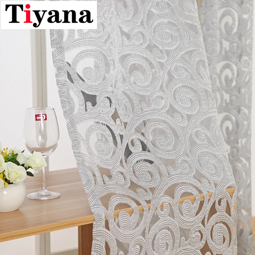 Tiyana Jacquard Geometric Tulle Curtains For Kitchen Living Room Sheer Window Screens Balcony Pteris ( Single Panel )  P051Y