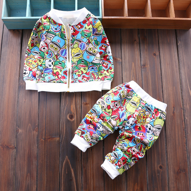 Newborn Sets Baby Boys Girls cartoon cat clothing set Children Outwear Jackets With Zipper + Pants 2pcs Sports Suit Kids Outfits baby boys sets cartoon dinosaur animal shapes children s clothing spring fall flannel coat with hood pants kids wear 0 2 yrs