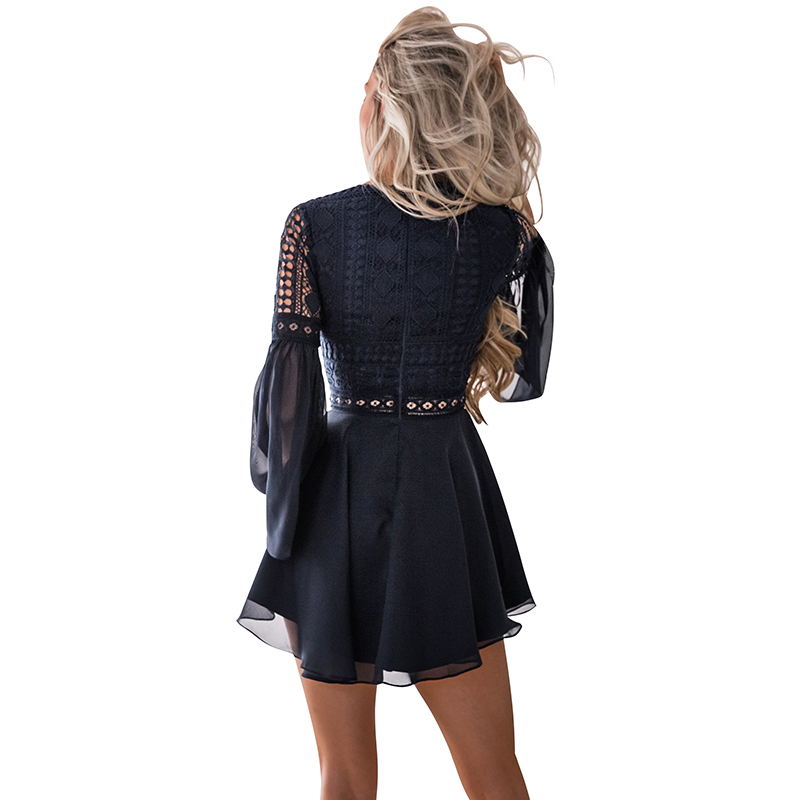 Image 5 - Hollow Out White Dress Sexy Women Mini Chiffon Dress Criss Cross Semi sheer Plunge V Neck Long Sleeve Crochet Lace Dress Black-in Dresses from Women's Clothing