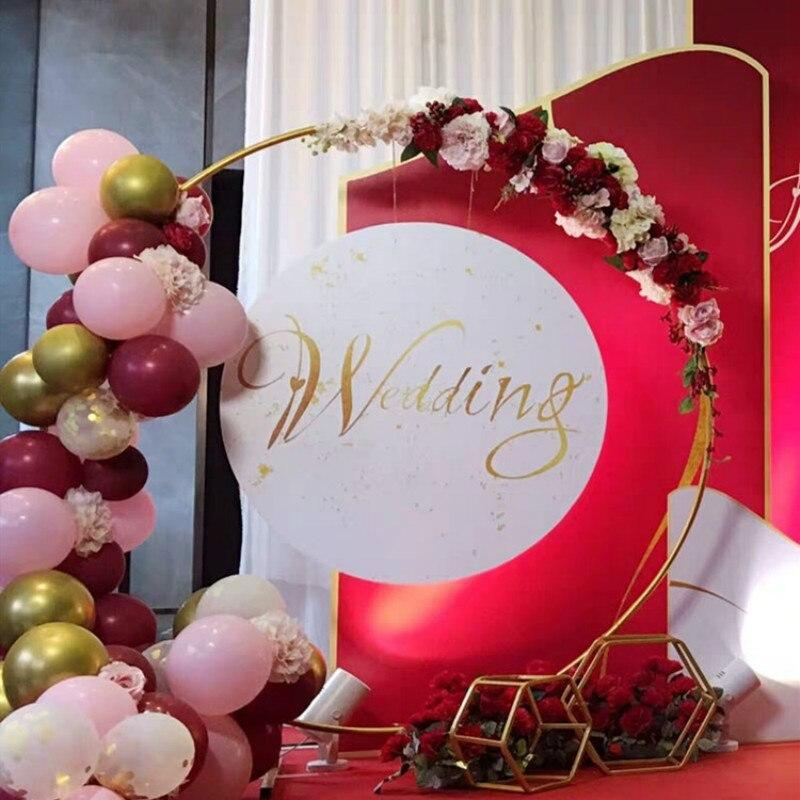 Cirkel Bruiloft Boog Achtergrond Smeedijzeren Plank Decoratieve Props Diy Ronde Party Achtergrond Plank Bloem Met Frame - 2