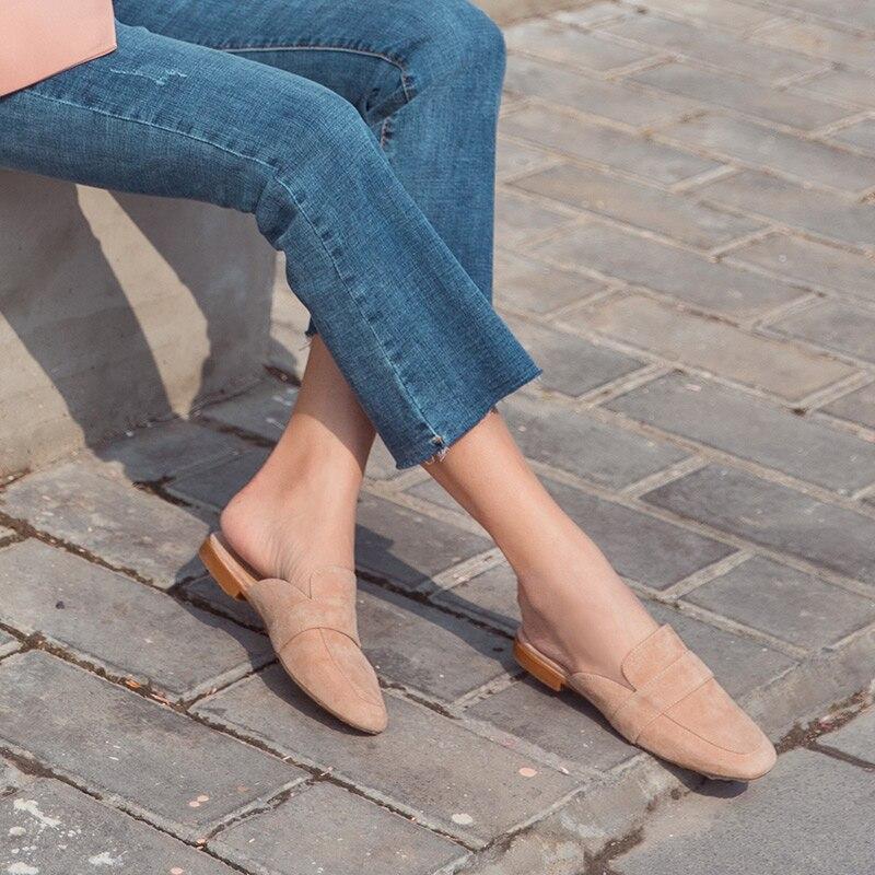 BeauToday mujeres mulas zapatos chico de punta redonda de cuero Slip On primavera otoño damas pisos hecho a mano 36093-in Zapatos planos de mujer from zapatos    2
