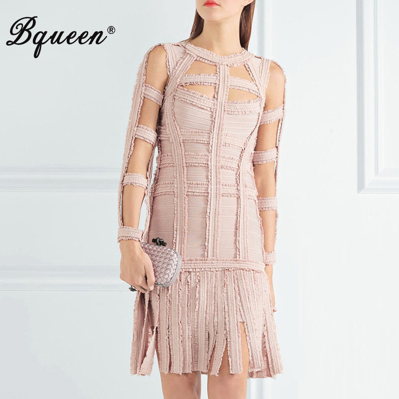 Bqueen 2018 New Women s Sexy Hollow Out Lace Tassel O Neck Celebrity Bandage Dress Lady