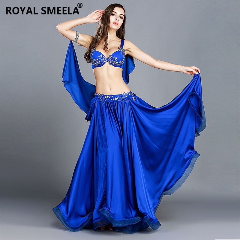 Women Professional Belly Dance Costumes Ladies Elegance Oriental Dance Outfits Bellydance Top Bra Long Skirt Suit Outfit--8836