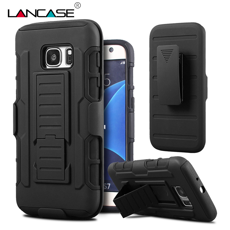 online store 18de6 6d909 US $4.06 5% OFF|LANCASE For Samsung Galaxy S7 Edge Case Hybrid Belt Clip  Stand Shockproof Silicone Armor Case For Galaxy S7 S6 Edge S5 S3 Case-in ...